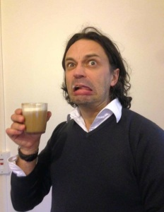 Tom drinking pumpkin-spiced eggnog made with pureed pumpkin. It was not a success.
